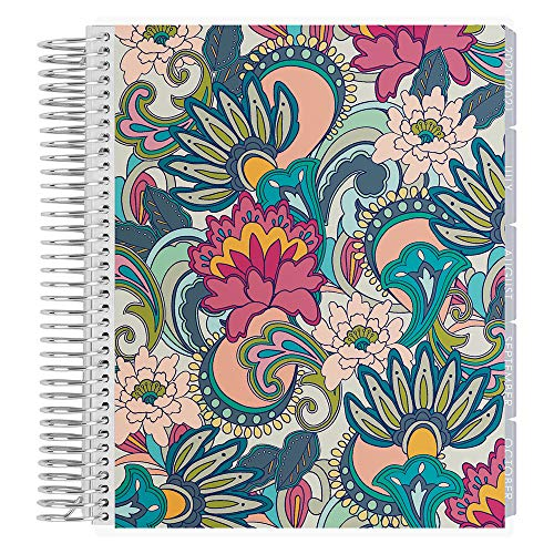 Erin Condren 12 - Month 2020-2021 Playful Paisley Coiled Life Planner with Layers Neutral Interior (July 2020 - June 2021) Horizontal Weekly Layout. Organizer, Monthly Calendar Tabs and Stickers