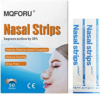 MQFORU 50ct Medium Better Breathe Nasal Strips to Reduce Snoring, Drug-Free, Works Instantly to Improve Sleep, Relieve Nasal Congestion Due to Colds & Allergies, (55mm*16mm)