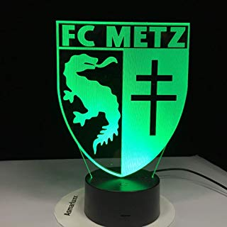 LLWWRR1 Fc Metz Club Logo 3D Soccer Lamp 7 Colorful Table Led Night Light Best Gift for Kids Dad Friends Drop Shipping Birthday Gift