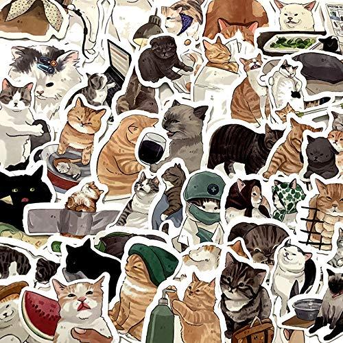 DSSJ 54 pegatinas con personalidad, diseño de gatito, maleta, ordenador, decoración, resistente al agua, portátil, monopatín, mesa, moto, coche, frigorífico, TV, monopatín, decoración, 54 unidades