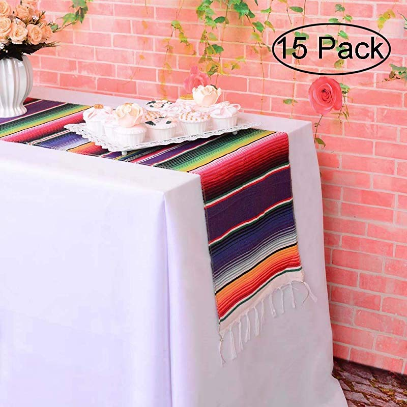 LGHome 15 Pack Mexican 14x84inch Serape Table Runner Cotton Handwoven Table Runner For Mexican Themed Party