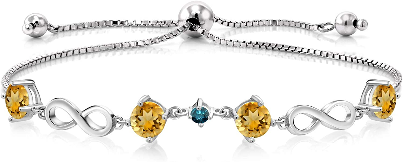 Gem Stone King 2.97 Ct Round Max 80% OFF Citrine Yellow Fashionable 925 Blue Ste Diamond