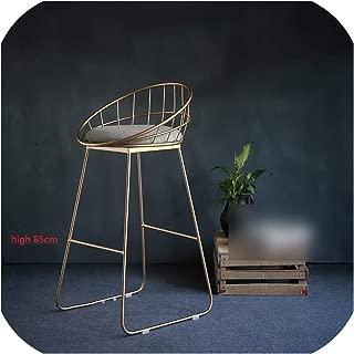U-See Simple Bar Stool Wrought Iron Bar Chair Gold High Stool Modern Dining Chair Iron Leisure Chair Nordic Bar Chair,High 85Cm2