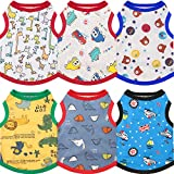 6 Pieces Dog Shirts Pet Dog Shirts Printed Cute Breathable Puppy Sweatshirt Puppy Dog Clothes Pet Apparel for Pet Dog (M)