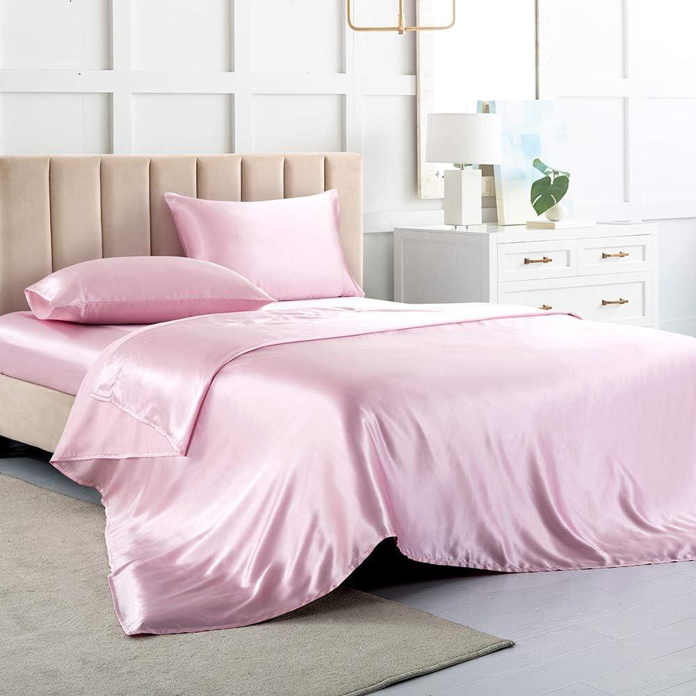 Luxbedding Satin Sheets 品質保証 再販ご予約限定送料無料 Cal King Pink Silk Be Soft