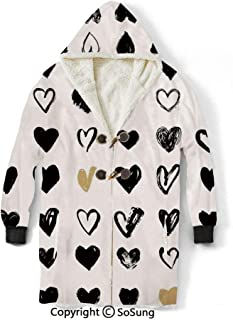 Love Decor Blanket Sweatshirt,Small Heart Icons Let Me Love You Stylized Hipsters Liking Spouse Couples Art Design Wearable Sherpa Hoodie,Warm,Soft,Cozy,XL,for Adults Men Women Teens Friends,Tan Blac