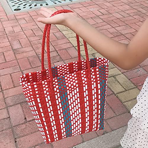 XKMY Cesta de la compra Moda tejida a mano Bolso de rayas para mujer, color casual, cesta tejida con protección del medio ambiente, bolsa de compras de verano 2021 (color: rojo pequeño)