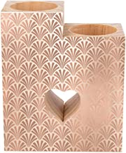 Romantic Wooden Heart Shaped Couple Candle Holders, Pink Rose Gold Candle Holder Heart Pedestal for Valentines Day Wedding...