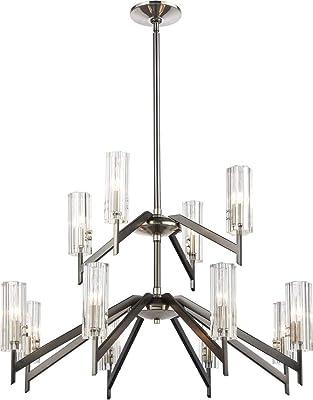 Elk Lighting 55077/8+4 Aspire 12-Light Ribbed Crystal Chandelier, Black Nickel, Polished Nickel
