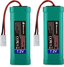 Powerextra 2 Pack 7.2V 3000mAh High Capacity 6-Cell NiMH Battery Packs with Standard Tamiya Connectors Compatiable RC Cars, RC Truck, RC Airplane, RC Helicopter, RC Boat