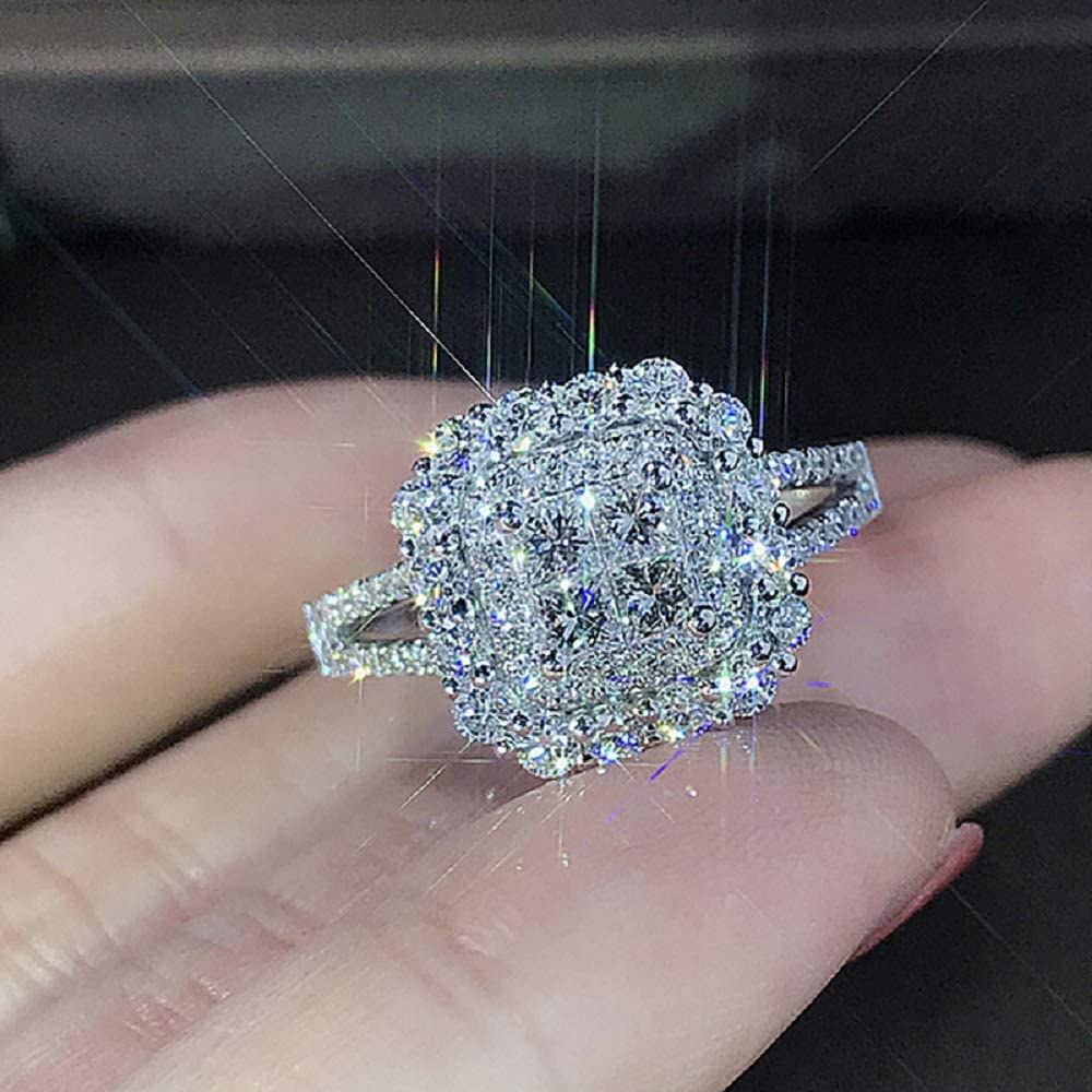 CHWLNJN S925 Sterling Silver Shiny Full 67% OFF of fixed price Ring Diamond Engagement Bombing new work