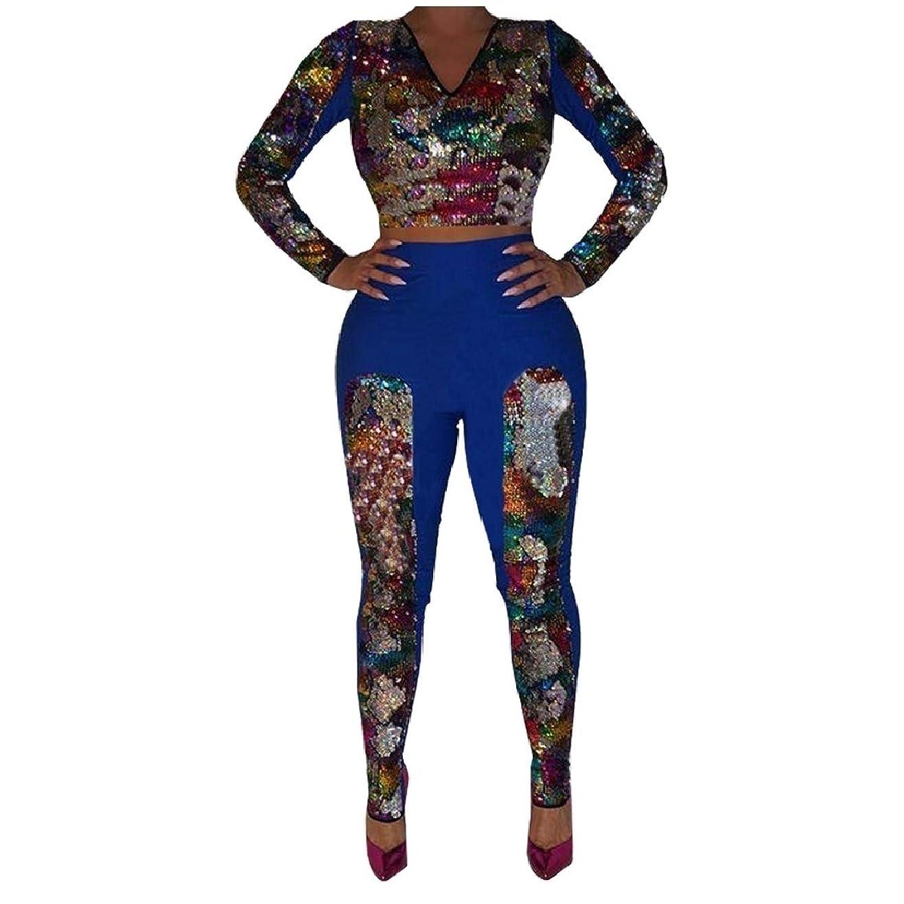 くさび明日航海GodeyesW 女性のプラスサイズシムcolortoneスパンコールジョガースウェットシャツセット
