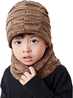 AMAZACER Kids Winter Hat Scarf Set Boys Girls Warm Fleece Lined Beanie Cap (Color : Khaki)