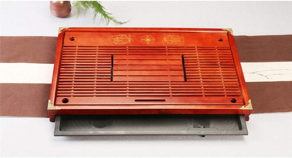 EXCLVEA Chinesischer Gongfu Tee Servierteller Chinesische Art-Tee-Beh/älter mit Schublade Drainage Teeboot Medium Red Massivholz-Tee-Beh/älter f/ür Hausgarten Color : Red, Size : One Size