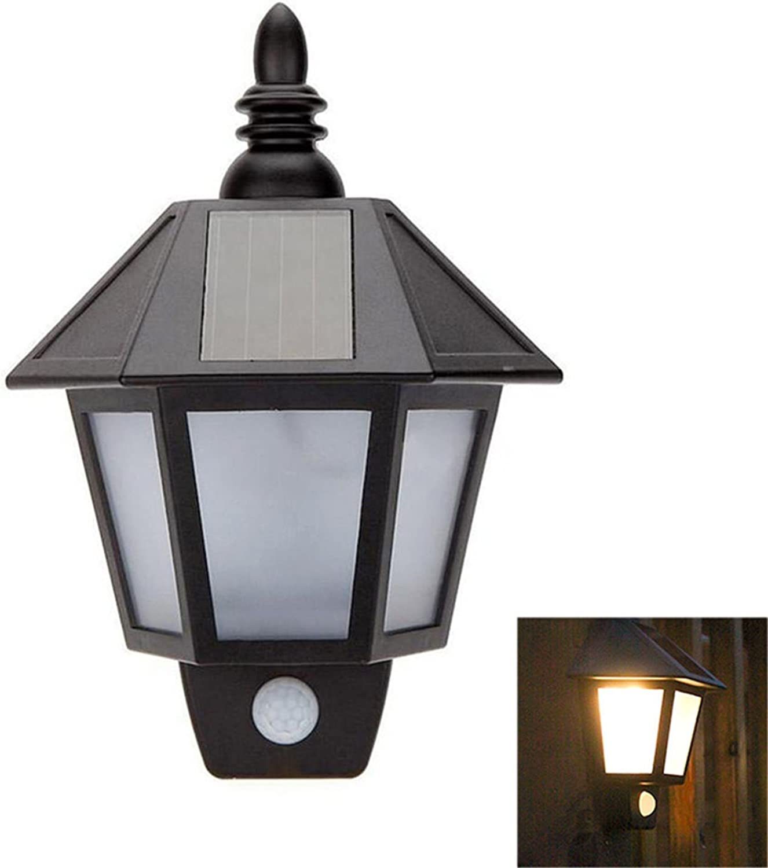 XSRKhome PIR-Sensor-Lampen-LED-Solarwand-Glühlampe im Freien warmes weies kühles weies ABS-PS-Krpermaterial IP44 Schwarzes für Hausbeleuchtung 1pcs (Farbe  warmes Wei), warmes Wei