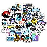 スキーステッカーセット 50枚入り スキー防水デカール スキーシールパック スーツケース ノートパソコン バイク ヘルメットなど適用