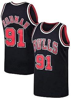 Bulls Version r/étro Basket-Ball Gilet sans Manches Chemise de Corps Broderie de pr/écision Tops gar/çons Hommes/—Cadeau de Sport CHSC # 91 Dennis Rodman Fan Maillot de Basket