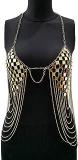 FidgetKute Lady Party Fringe Gold Silver Metal Beach Bikini Top Bralette Body Chain Jewelry Gold