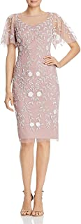 Women's Floral Beaded Dress with Sheer Flutter Sleeves