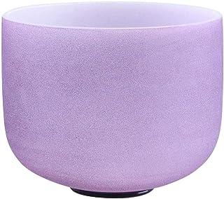 440Hz 20 CM Color violeta esmerilado Pitch perfecto B Note Crown Chakra Crystal Singing Bowl Cuarzo Singing Bowl con junta tórica y New Crystal Mallet