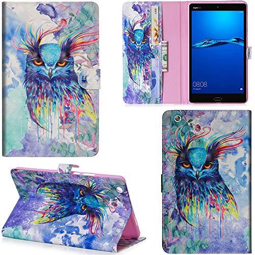 Ooboom Huawei MediaPad M3 Lite 8 8,4 Zoll Hülle 3D Flip PU Leder Schutzhülle Tasche Case Smart Cover Ständer mit Kartenfach Integrierten Kartensteckplätzen Magnetverschluss - Bunt Eule