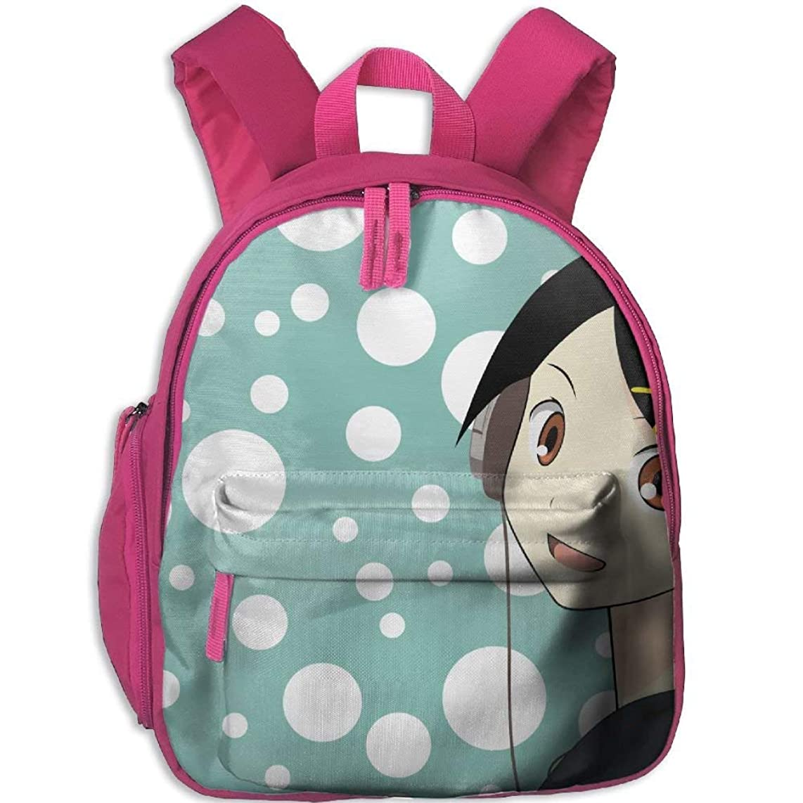 Anime Polka Dot Green White Girl Children School Bag Book Backpack Outdoor Travel Pocket Double Zipper