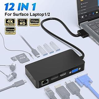 Microsoftラップトップ1ラップトップ2用のSurface Laptopドッキングステーション、ギガビットイーサネットポートを備えたMicrosoftドックアダプター、4K HDMI VGA DP、3 USB 3.0ポート、オーディオ出力...