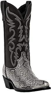 LXWS Bottes d'équitation Western Cowboy Style Bout Pointu Broderie Chevalier Bottes Serpent imprimé mi Bottes Hommes et Fe...