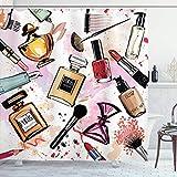 Cortina de Ducha de Moda, patrón de Tema cosmético y de Maquillaje con Perfume, lápiz Labial,...
