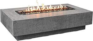 Elementi Hampton Rectangle Propane Fire Table OFG139-LP, Cast Concrete Outdoor Fire Pit Table/Patio Furniture, 45,000 BTU Auto-Ignition, Stainless Steel Burner, Lava Rock & Canvas Cover are Included