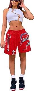 DELIMALI Women Graffiti Printed Shorts Rapper Hip Hop Soft Cotton Jogger Gym Active Graffiti Shorts Sweatpants with Pockets