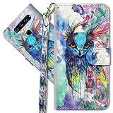 MRSTER LG Q60 Handytasche, Leder Schutzhülle Brieftasche Hülle Flip Hülle 3D Muster Cover mit Kartenfach Magnet Tasche Handyhüllen für LG Q60 / LG K50. YX 3D - Colorful Owl