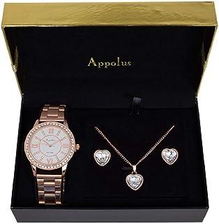 Womens Wrist Watch Set - Best Gift For Mom Wife Girlfriend Anniversary Graduation - Appolus Watch Necklace Earrings Gift Set (Rose Gold)