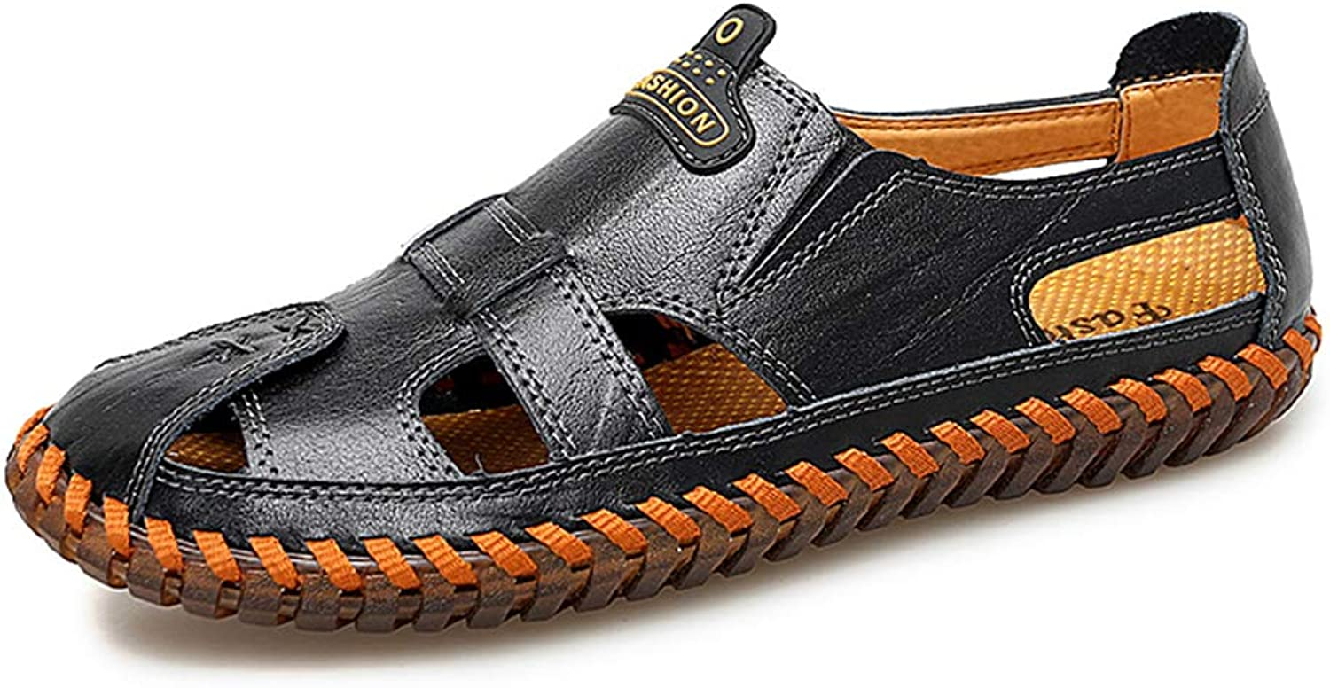 Sports Outdoor Leather Sandals Summer Casual Outdoor Hollow Loafers Flats Handmade Breathable Male Footwea