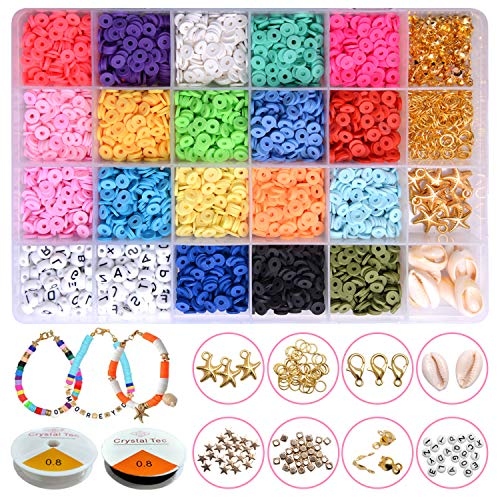 CCJK Clay Flat Beads, Polymer Clay Beads, 4800pcs 6mm Round Clay Spacer Beads, Disc Beads for Jewelry Making, Heishi Beads Bracelet Necklace Earring Making Kits, Disk Beads, Arts&Crafts DIY Kits Gift