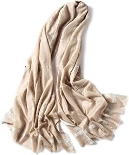 GLJJQMY Super Soft Spring and Autumn Winter Black Plaid Scarf Ladies Shawl Warm Long Scarf Wild Scarf (Color : Beige)