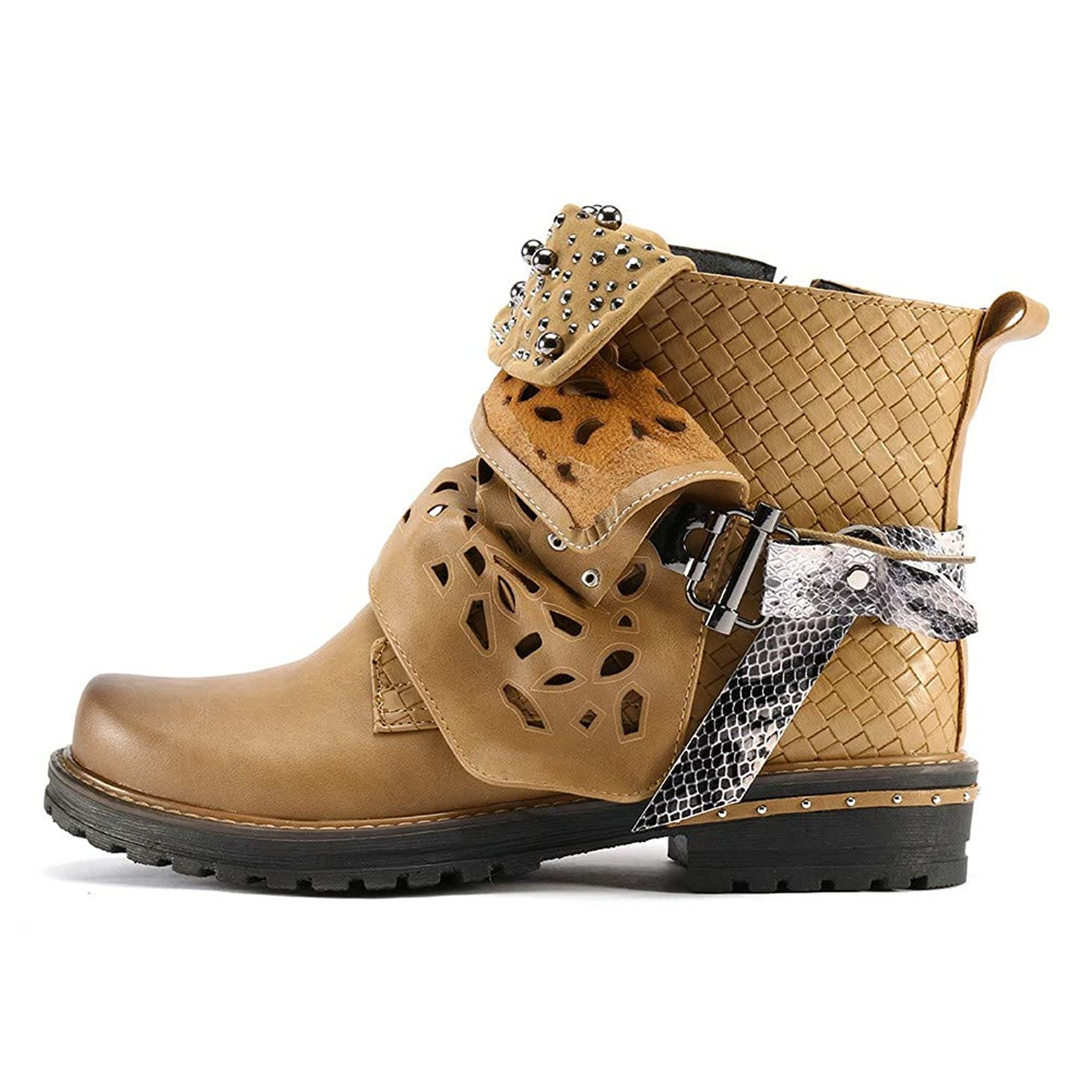 HYIRI Originals Leather Buckle Hollow-Out Boots,Women Pearl Oxford Boot Side Zipper Cowgirl Boot
