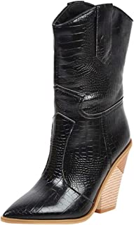 Aunimeifly Ladies Chunky High Heel Shoes Pointed Toe Boots Women's Western Rodeo Cowboy Booties Wedges