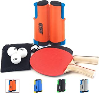 GSE Games & Sports Expert Anywhere Portable Ping Pong Table Tennis Set to Go - Includes Retractable Net & Post, 2 Paddles & 3 Ping Pong Balls (4 Colors)