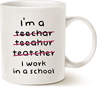 MAUAG Teacher Christmas Gifts Funny Coffee Mugs Wrong I'm an Teacher, I Work in a School Best Motivational and Inspiration...