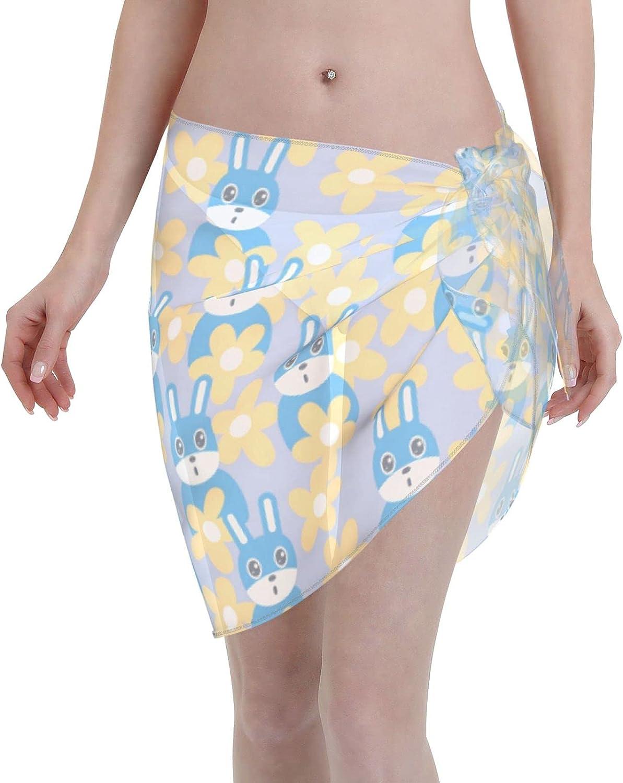 Reindeer Horn Women Short Blue Rabbits and Flower Sarongs Cover Ups Beach Chiffon Sarong Bikini Swimwear