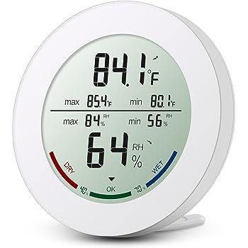 Digitales Thermo-Hygrometer, Oria Indoor Hygrometer Thermometer Mini Luftfeuchtigkeit Messen mit LCD-Bildschirm, MIN/MAX-Aufzeichnungen, Trend, °C / °F-Schalter, Komfortanzeigen, Weiß
