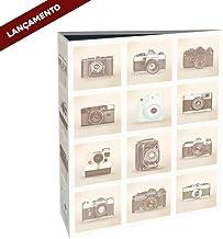 Álbum de Fotos Câmeras Retrô - 160 Fotos 10x15 cm - Bege - 23x18,4 cm