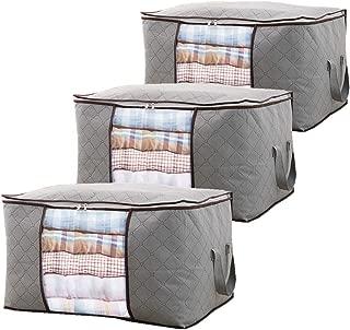 QuaiShy Storage Bags,Storage Bins,Storage Bag Organizers,Clothing Organizer Bags, Foldable Storage Zipper Bag Large Durable Closet Storage Boxes(Grey+3 Piece)