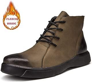 Men's Shoes-Men's Ankle Boots Casual Stylish and Comfortable Round Toe Faux Fleece Inside Outsole Leisure Shoes(Conventional Optional) Leisure (Color : Khaki, Size : 44 EU)