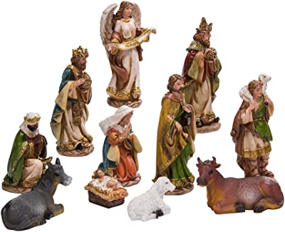 Amazon Com 15 Piece Nativity Figurine Set Hand Painted Christmas Nativity Scene 4 Tall Home Kitchen