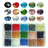Chengmu 6mm Briolette Glass Beads for Jewelry Making 750pcs AB Colour Faceted Rondelle Shape Colourful Crystal...