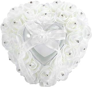 Nitrip Romántico en Forma de corazón Caja de Anillo de Boda Rose Rhinestone decoración Anillo Almohada cojín