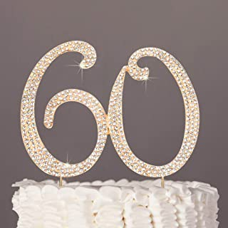60 Cake Topper Glitter Rhinestone Cake Toppers Rose Gold Cake Decor for 60th Birthday or Anniversary Party
