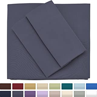 Cosy House Collection Premium Bamboo Sheets - Deep Pocket Bed Sheet Set - Ultra Soft & Cool Bedding - Hypoallergenic Blend from Natural Bamboo Fiber - 3 Piece - Twin, Grey
